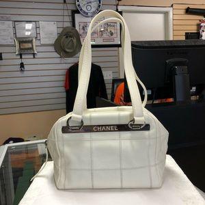 Chanel White Square Stitch Satchel